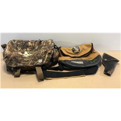 DUCKS UNLIMITED SACK, LEATHER HOLSTER & DELTA HUNTING GEAR BAG