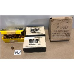 AMMO / BULLETS: 64 X 9 MM LIVE & APPROX 300 BULLETS