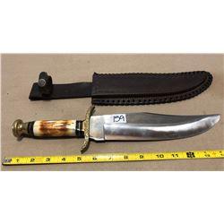 EXTRA LARGE BONE HANDLE KNIFE WITH LEATHER SHEATH