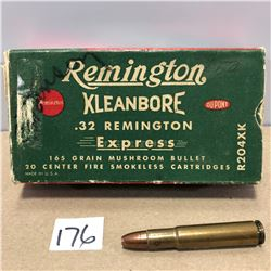 AMMO: 20 X .32 REM 165 GR - VINTAGE BOX