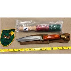 INTERNATIONAL RED FLARE, OSCARS HUNTING KNIFE & DEER HUNTER BADGE