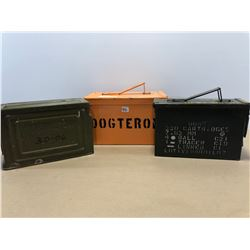 3 X METAL AMMO STORAGE BOXES