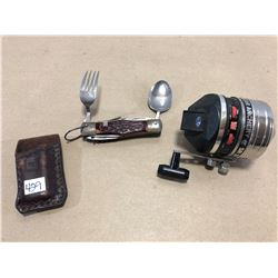 BEAR ARCHERY SR 270 FISHING REEL, CAMPING TOOL & KNIFE HOLDER
