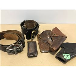 6 X LEATHER BELTS & HOLSTERS