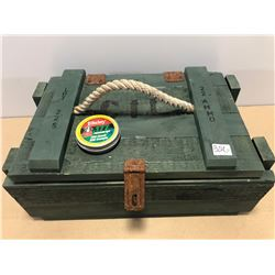 WOODEN AMMO CRATE WITH APPROX 100 X .177 DAISY PELLETS