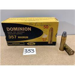 AMMO: 50 X DOMINION .357 MAG