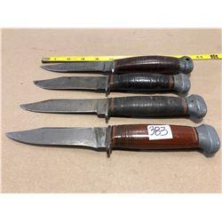 "4 X US MK I HUNTING KNIVES - 5"" BLADES"