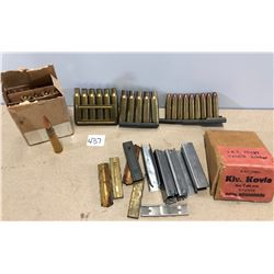 AMMO / BRASS / CLIPS: 24 X UNKNOWN  CAL & 10 X BRASS & QTY CLIPS