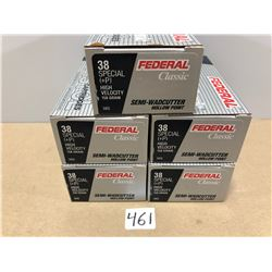 AMMO: 250 X FEDERAL .38 SP SEMI-WADCUTTER