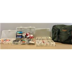 MITCHEL SOFT TACKLE BAG W / QTY FLATS OF LURES & ACCESSORIES - MOST AS NEW