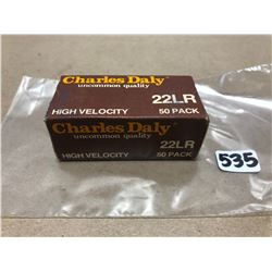 AMMO:  50 X CHARLES DALY .22 LR - COLLECTIBLE BOX