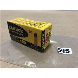AMMO:  50 X CIL CANUCK .22 AUTO 45 GR