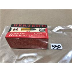 AMMO: 50 X HERTER'S .22 LR - SEALED COLLECTIBLE BOX