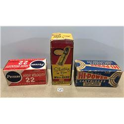 3 X ANTIQUE AMMO BOXES