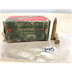 AMMO: 50 X REMINGTON KLEANBORE .22 HORNET 45 GR