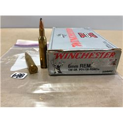 AMMO: 20 X WINCHESTER 6 MM REM 100 GR