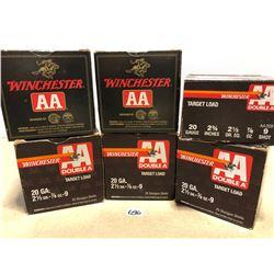 """AMMO: 150 X WINCHESTER AA 20 GA 2 3/4"""" 9 SHOT"""
