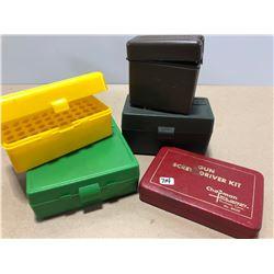4 X PLASTIC AMMO CASES & GUN SCREWDRIVER KIT