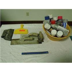 trowels, spray paint