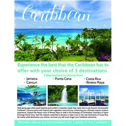 Caribbean Vacation for 2, 7 days and 6 nights, Choice of Jamaica/Costa Rica/Cancun or Riviera Maya