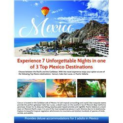 Unforgettable Mexico Vacation for 2, 8 Days/7 Nights, Cancun/Cabo San Lucas or Puerto Vallarta
