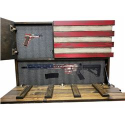 Liberty American Flag Gun Concealment case with 2 compartments  Some Gave All  w/Flag Firearms, AR15