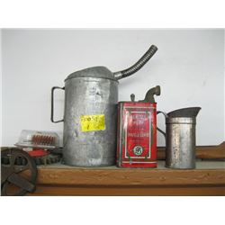 2 AUTOMOTIVE FILLING CANS, CLOTHESLINE PULLEY ETC.