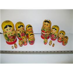 2 MATRYOSHKA WOODEN STACKING DOLLS