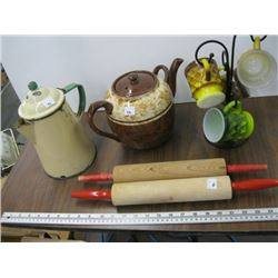 A LOT OF MISC ROLLING PINS, ENAMEL KETTLE, COFFEE CUPS ETC.