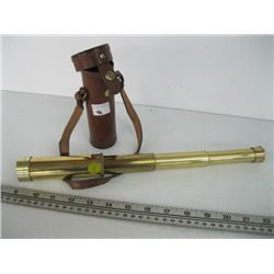 BRASS TASCO 25 X 30MM TELESCOPE WITH LEATHER CASE
