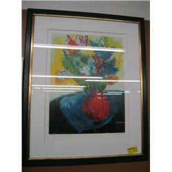 "FRAMED NUMBERED COLORFUL PRINT OF ""FLOWER VASE & FLOWERS"" BY CHAKI (158/180)"