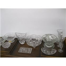 12 PCS OF ASSORTED CRYSTAL & GLASSWARE