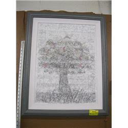 FRAMED ORIGINAL DECORATIVE APPLE TREE