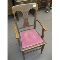 OAK ARM CHAIR WITH PINK CUSHIONED SEAT
