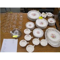 8 PLACE SETTINGS OF GOLDEN FRAGRANCE CHINA WITH MATCHING GLASS & DESSERT SET