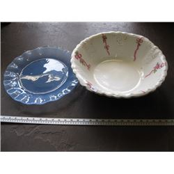 WASHBOWL, LARGE GLASS BLUE SERVING PLATE