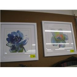 2 FRAMED WHITE PRINTS OF COLORFUL FLOWERS