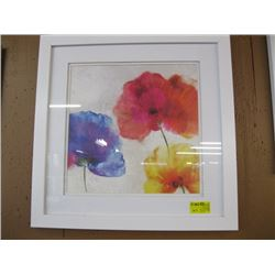 MATCHING WHITE FRAMED PRINT OF COLORFUL FLOWERS