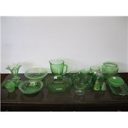 LARGE LOT OF ASSORTED GREEN GLASSWARE, DEPRESSION ETC.