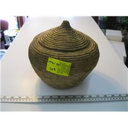 """LIDDED NATIVE BASKET HAS A 6"""" OPENING"""