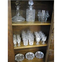 LARGE SELECTION OF CRYSTAL, WINEGLASSES, DECANTERS, ICE BUCKET, ASHTRAYS