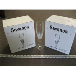 12 SAVANNAH 6.75 OZ FLUTE CHAMPAGNE GLASSES