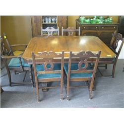WALNUT DINING TABLE WITH 6 MATCHING GREEN UPHOLSTERED CHAIRS