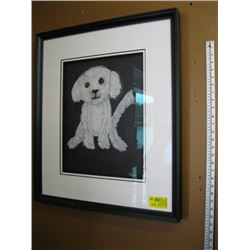BOXED FRAMED CHALK DRAWING OF 'THE PUPPY'