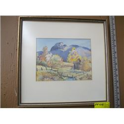 """ORIGINAL WATERCOLOR OF 'BARN W/MOUNTAIN BACKGROUND' BY JANET MIDDLETON PAINTING SIZE APPROX 9"""" x 7"""""""