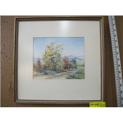 """ORIGINAL WATER COLOR OF 'ROAD WITH FENCE' BY JANET MIDDLETON (PAINTING SIZE APPROX 8.5"""" X 7"""")"""