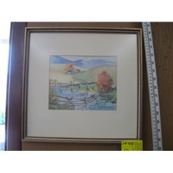 """ORIGINAL WATER COLOR OF 'FENCE ACROSS STREAM' BY JANET MIDDLETON ( PAINTING SIZE APPROX 8.5"""" X 7"""")"""