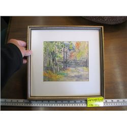"""ORIGINAL WATER COLOR OF 'WOODEN GATE' BY JANET MIDDLETON (PAINTING SIZE APPROX 7"""" X 6.5"""")"""