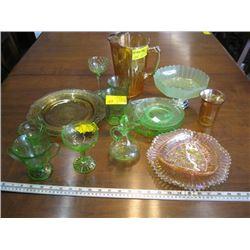 2 SHELVES OF DECORATIVE GLASSWARE, DEPRESSION GLASS ETC.