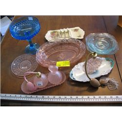 A LOT OF ASSORTED GLASSWARE, PERFUME AT0MIZER ETC.